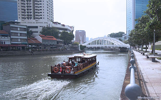 View of Elgin Bridge from the north bank of the Singapore River.