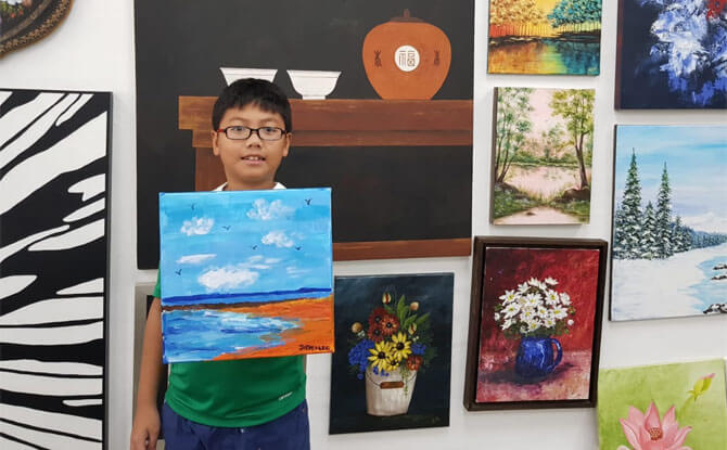 Jayden Lee with his painting
