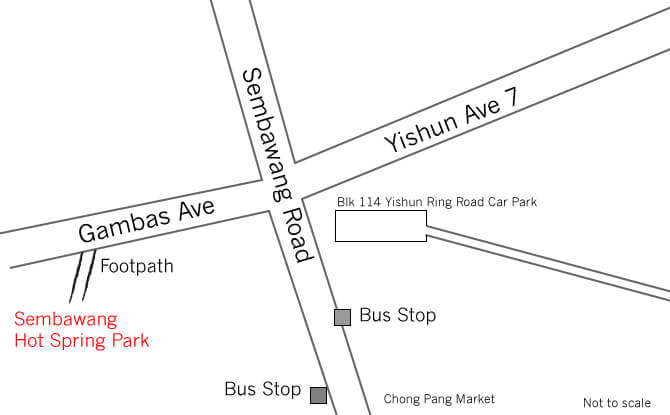 Map showing how to get to Sembawang Hot Spring Park