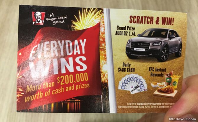 KFC Everyday Wins scratch card