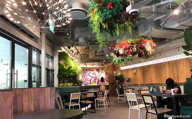 interior is also landscaped with florals and foliage
