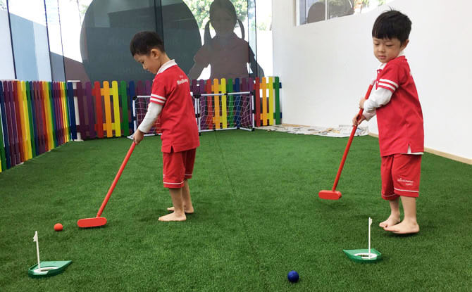 Kids Play Mini-Golf And Bowl at New MindChamps PreSchool @ Boon Keng (Kallang)