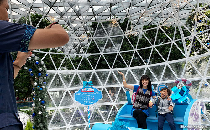 Take a picture inside a Snow Dome at Canopy Park