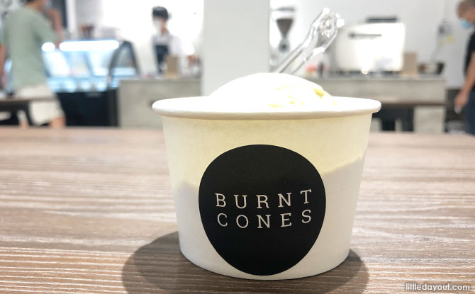 Burnt Cones Pistachio ice cream