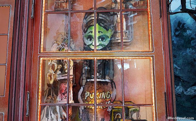 Shop window displays, Hogsmead Village, Changi Airport