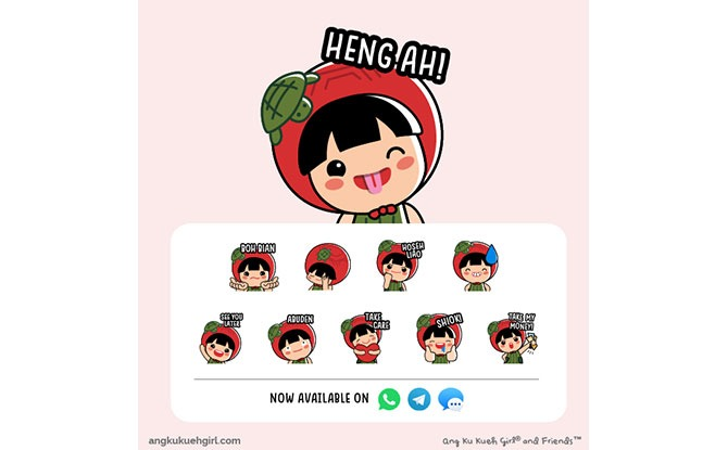 Ang Ku Kueh Girl National Day 2020 Stickers