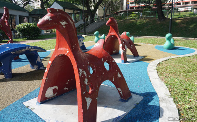 Old School Animal Playground At Toa Payoh Lorong 7 Park: Horse, Duck and Anteater