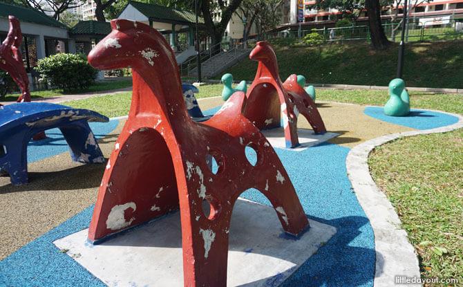 Old school horse play sculptures