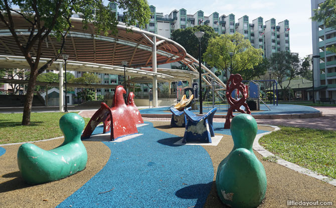 The Animal Playground at Toa Payoh is located next to the modern children's playground