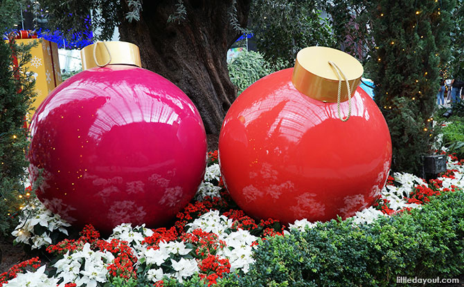 Brightly-coloured baubles at Gardens by the Bay 2018
