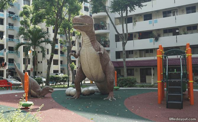 Towering Dinosaur Statue Playground at Kim Keat
