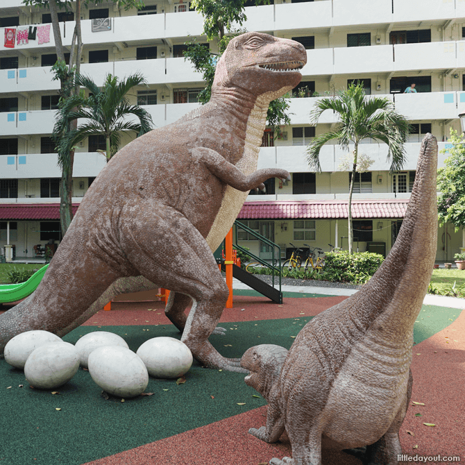 Smaller dinosaur with the larger one.