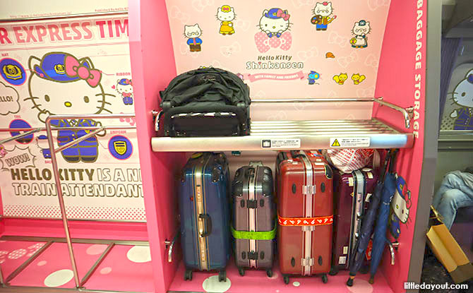Luggage Areas on board the JR Hello Kitty Train