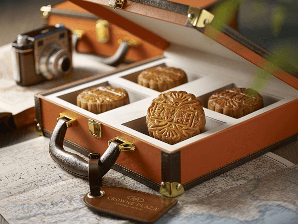 Crowne Plaza Changi Airport's traditional baked mooncakes are presented in a limited-edition vintage suitcase. Photo credit: Crowne Plaza Changi Airport