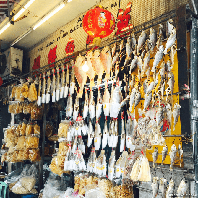 Salted fish hung beautifully outside a traditional shop.