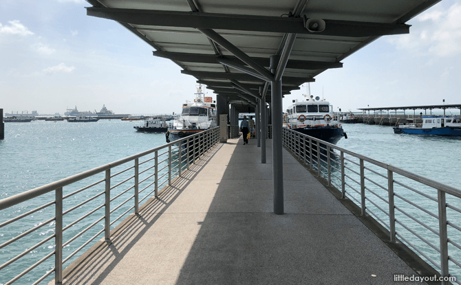 Go along the pier to the ferry