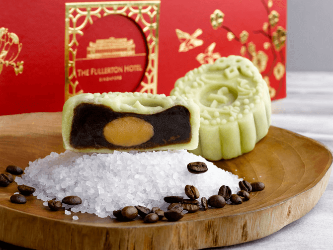 Fullerton's Kopi with Salted Hokkaido Milk Snowskin Mooncakes are a treat for coffee lovers. Photo credit: The Fullerton Hotel Singapore