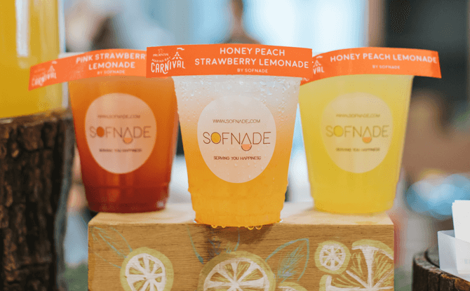 e A selection of lemonades by Sofnade
