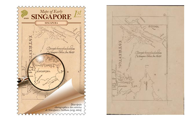 At The Crossroads - Early Maps of Singapore on a Stamp