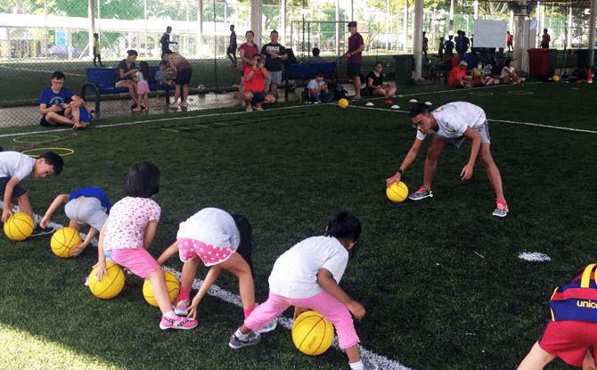 Learning Basketball with Ready Steady Go Kids Singapore
