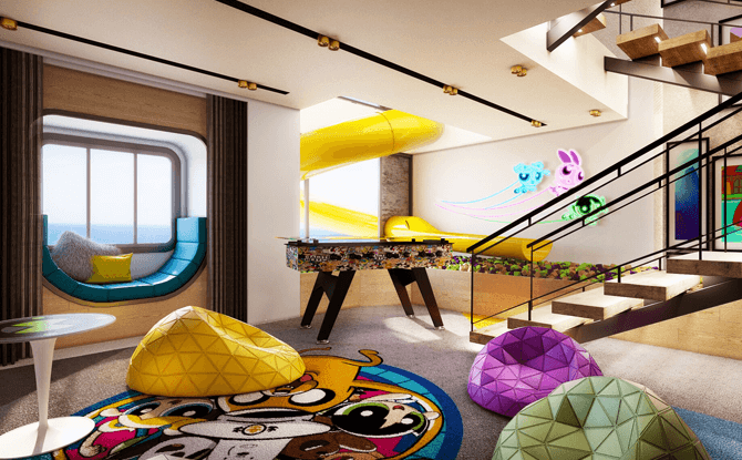 Artist impression of the kids area in Cartoon Network Wave's Triplex Suite. All illustrations are subject to change without prior notice.