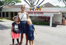 Charlotte Clancy, from The Swiss School in Singapore, with her daughters