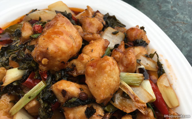 …and the teahouse's signature dish, Tea Leaves Chicken.