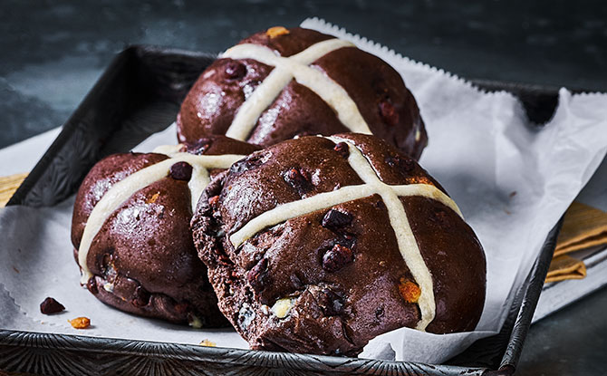 Extremely Chocolatey Hot Cross Buns