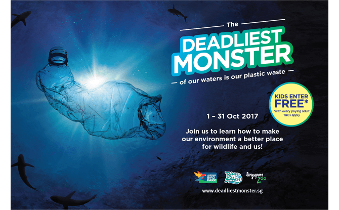 The Deadliest Monster - Kids Enter Free to Singapore Zoo, River Safari, Jurong Bird Park in October 2017