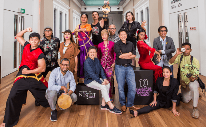 Festival director Angelita Teo and Festival Creative Director Christie Chua and the 10 Homecoming Artists for the Singapore Night Festival 2017