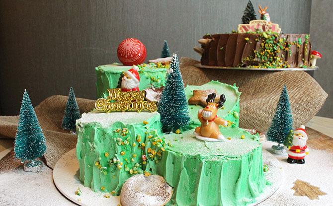 Gula Melaka Pandan Log Cake