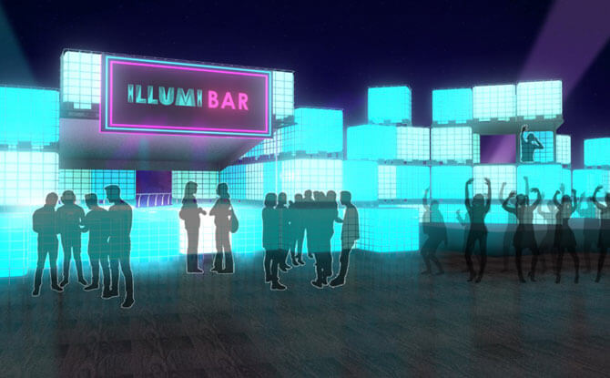 Artist rendition of ILLUMI Bar, I Light Marina Bay 2018 festival hub