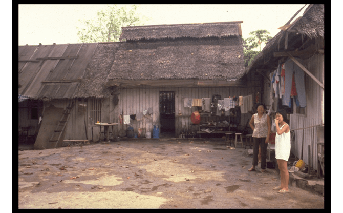 Kampong Teban, located at the 8th milestone of Tampines Road, 1986. Credit - Courtesy of National Archives of Singapore