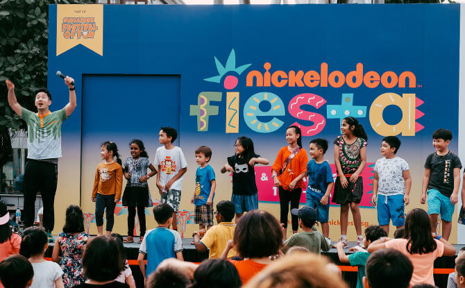 Kids on stage at the Nickelodeon Fiesta