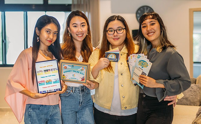 Left to Right: Asyiqin Musta'ein, Mallorie Ng Jing Wen, Melissa Phay Bao Yu, Esther Vivienne Yeo Yi Qin. Image: Money Talks