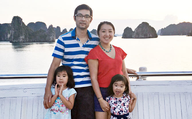 June Sun, Director of the MindChamps Reading Programme at Raffles Town Club, with her family.