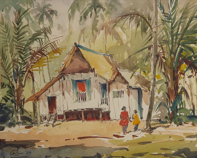 Untitled (Kampong House with Two Figures) 1957