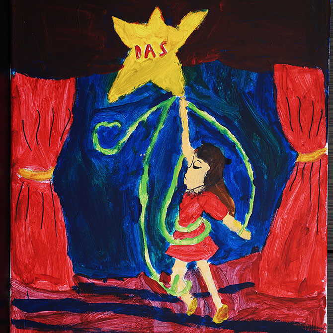 """Reaching for the Star"" (left) by 11-year-old Tang Jia Rui tells her brave tale of overcoming her difficulties in life, drawing strength and guidance from the help of the stars in her life such as DAS,"