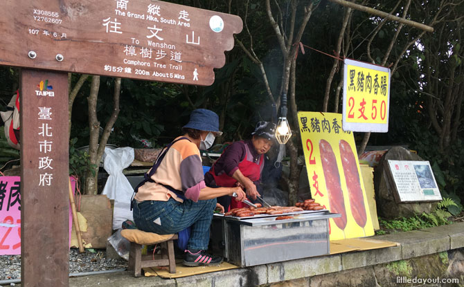 Sausages on sale in Maokong, Taiwan.