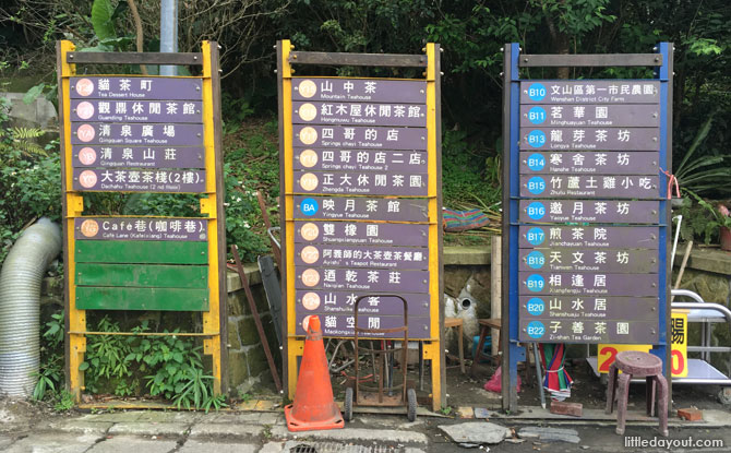 This gives you an idea of the large number of tea places in Maokong.