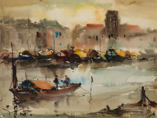 Singapore River. 1962. Watercolour on paper. 33 x 43 cm. Collection of National Gallery Singapore. © Family of Lim Cheng Hoe.
