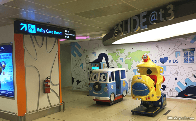 Baby care room and kiddie rides at T3, Basement 2