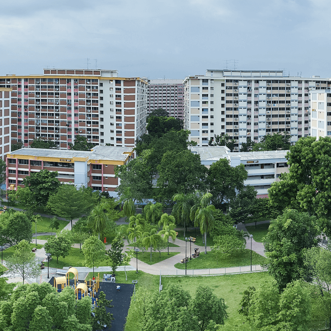 Tampines Central Park, where the iconic watermelon and mangosteen playgrounds are located, 2017. Credit - Courtesy of National Heritage Board