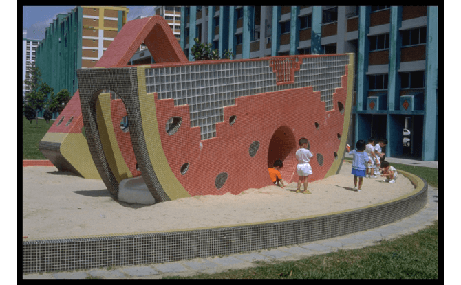 Watermelon playground at Tampines Central Park, 1993. Credit - Ministry of Information and the Arts Collection, Courtesy of National Archives of Singapore