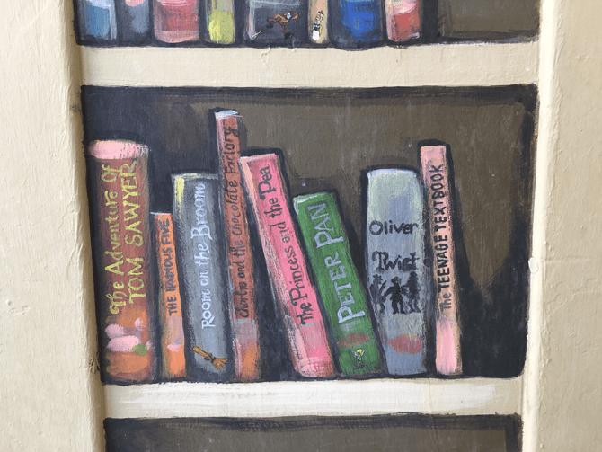 Mural detail of books