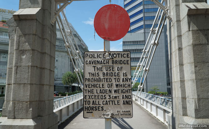 Historical police signboard at Cavenagh Bridge