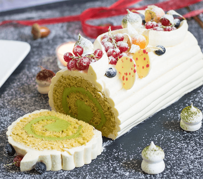 Yuzu Green Tea Polenta Log Cake