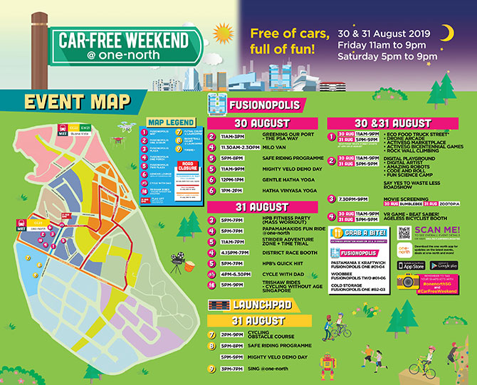 Car-Free Weekend August 2019 at one-north