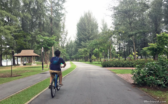 Cycling along Changi Beach Park