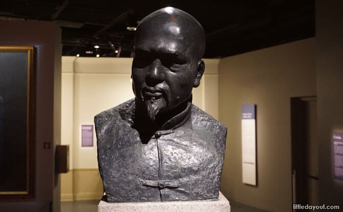 Typical Prosperous and Honest Merchant, a sculpture by William George Stirling. The sculpture was located outside the National Museum building for more than 50 years. It is now found in the Singapore History Gallery.